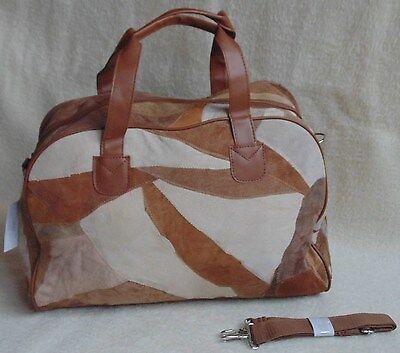 Tasche Handtasche Reisetasche Ledertasche Patchwork braun 40x30x16cm Patchtasche