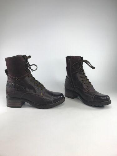 "Taos Women/'s Crave Leather Combat Ankle Boots /""Bordeaux/"" NEW w// BOX Select Sizes"