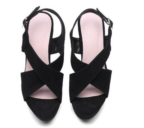 Tacones Plataformas mujeres Cuñas Slingback para abierta con Sandalias Comfort punta Strappy atUwqt