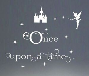 b2f660154ae Once upon a time... Wall sticker quote Tinkerbell Stars Mickey Mouse ...