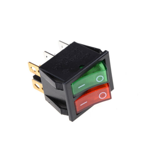 Red Green Light 6Pins Double SPST On//Off Boat Switch 16A 250V AC 20A 125V  ZN