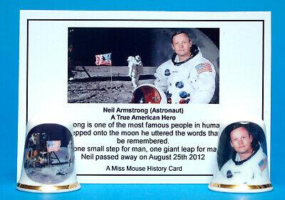 Neil Armstrong Moon Landing Set of 2 China Thimbles Astronaut Card B//32
