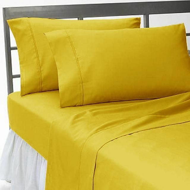4 PCs Water Bed Sheet Luxury Hotel-100% Cotton 1000 TC All Size gold Solid