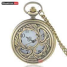 Vintage Bronze Hollow Retro Quartz New Pocket Watch Pendant Necklace Steampunk