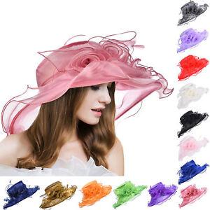 df4d724279f A341 Women Wide Brim Kentucky Derby Dress Sun Floral Hats Floppy ...
