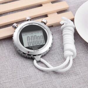 Chronograph-Metall-Digital-Timer-Stoppuhr-Sport-Zaehler-Wasserdichte-Stoppuhr