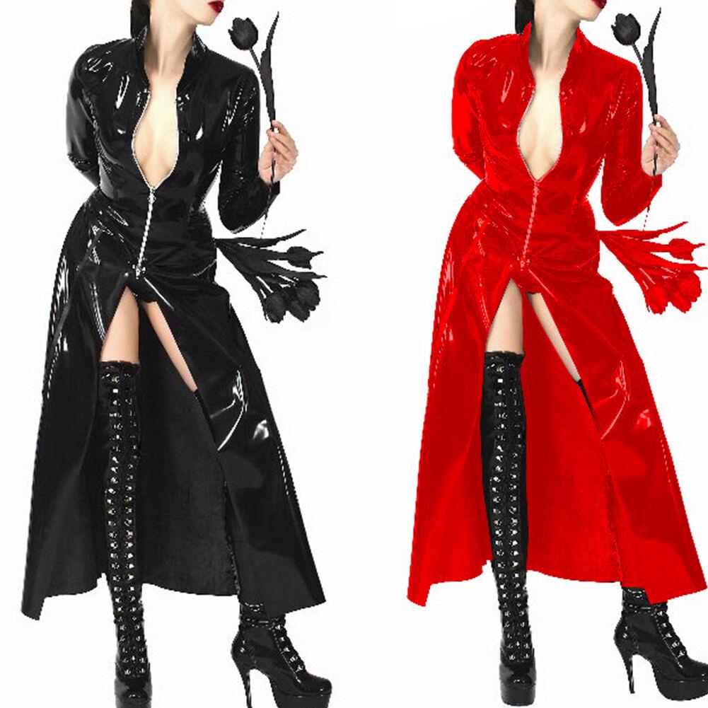 Womens PVC Leather Long Sleeve Coat Cloak Dress Standing Collar Zsell