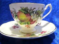 Queen Anne Vintage Tea Cup & Saucer Fine Bone China Fruit Series