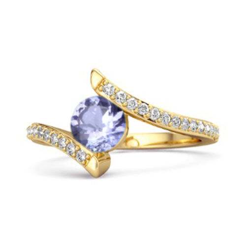 Details about  /Stackable 9k Yellow Gold  0.10 Ctw Tanzanite Gemstone Anniversary Women Ring