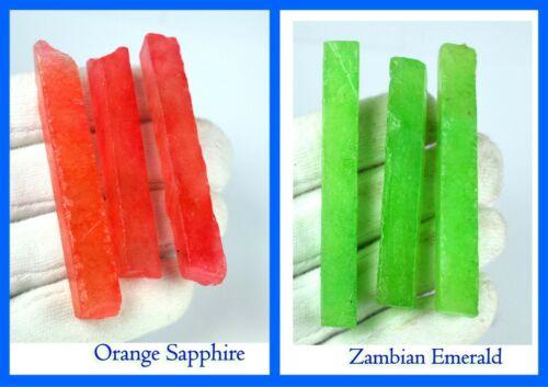 Lot Details about  /6 Pcs Natural Zambian Emerald /& Orange Sapphire Gemstone Slice Rough 360 Ct
