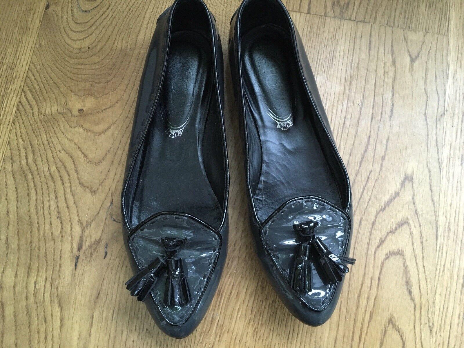 Sconto del 70% TOD'S TOD'S TOD'S brevetto in pelle nappa mocassini scarpe taglia 36 US 6  grande sconto