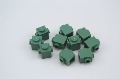 Lego 1x1 Brick with Studs on 2 Sides Opposite Sand Green Lot of 10