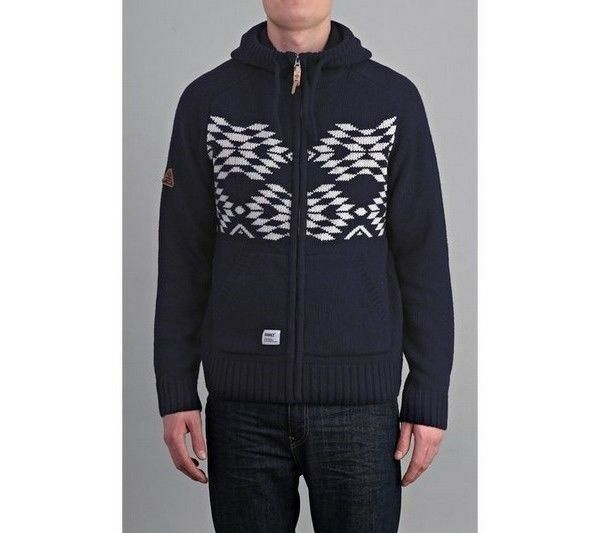ADDICT ARROW KNITTED HOODY - NAVY