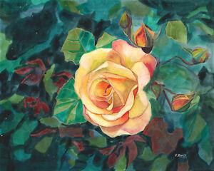 Original-artwork-gouache-watercolor-painting-Rose-plant-on-paper-8-10-034-flower