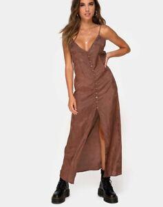 MOTEL-ROCKS-Senia-Dress-in-Satin-Rose-Chocolate-Extra-Small-XS-mr23
