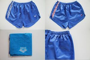2-Stueck-ARENA-Sporthose-80er-XL-NEU-VINTAGE-Shorts-kurze-Hose-Nylon-Glanz-adidas
