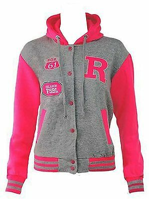 Womens Ladies Plus Size R-FOX Varsity baseball jacket Tracksuit Hoodie 16 TO 24