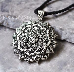 Antique-Silver-Plt-3D-Tibetan-Healing-Mandala-Pendant-Necklace-Buddha-Buddhism