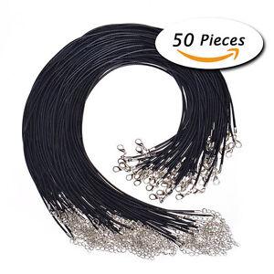 50PCS Wholesale PU Leather String 50CM Waxed DIY Necklace Cords Lot Black  AU