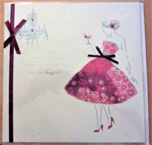 Nouveau Stock-Superior Female 21st Handmade Carte D/'Anniversaire