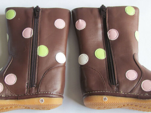 Up to Size 7 Toddler Boots Brown with Multi Colored Dots Squeaky Boots