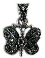 Butterfly Marcasite Pendant Sterling Silver 925 Fashion Vintage Jewelry Gift