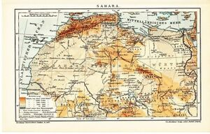 1899 AFRICA SAHARA DESERT Antique Map | eBay