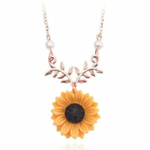 SUNFLOWER-WITH-LEAF-amp-PEARL-PENDANT-NECKLACE-19-21-034-ROSE-GOLD-CHAIN
