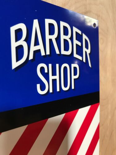 Barber Shop Retro Aluminum Reproduction Shop ManCave Garage Sign