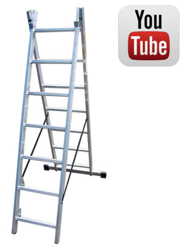 Drabest Two Section Aluminium Combination Ladder 914 Treads Trade New