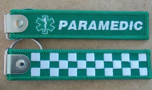 PARAMEDIC WOVEN KEYRING KEYTAG SIZE 125MM X 25MM WITH FLAT PLATE & SPLIT RING