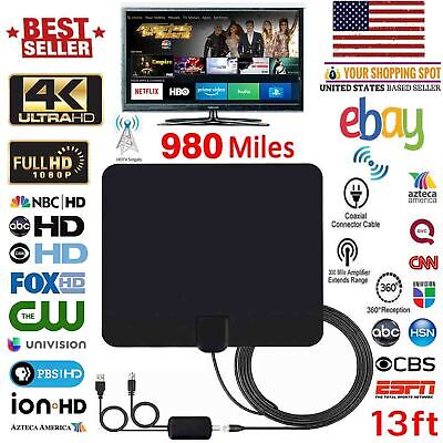 Amplified HD TV Antenna Free Channels 13ft Cable HDTV 4K VHF//UHF Fox 350 miles