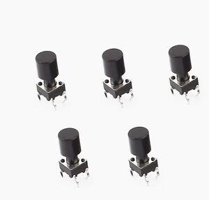20Pcs-6x6x12mm-Momentary-4pin-Push-Button-Micro-Tactile-Tact-Switch-Black-Cap