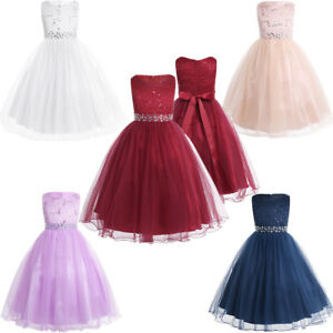 Kids-Girls-Flower-Sequins-Formal-Occasion-Party-Wedding-Pageant-Communion-Dress