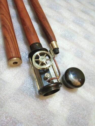 Details about  /Steampunk Wooden Walking Stick Cane With Brass Working Steam Engine Classical