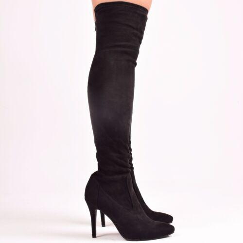 Mesdames Femmes Noir Bottes Talon Haut Slim ajusté stretch fashion Chaussures Taille 3-8