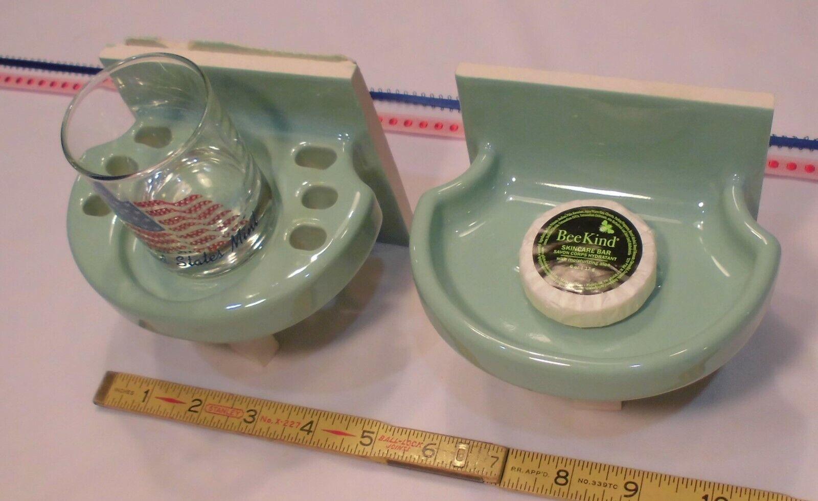 Vintage Sylvan Grün Sink Set ceramic soap dish & tumbler  American Olean  NEW