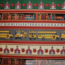 BonEful Fabric FQ Cotton Quilt Blue Teacher School Book OWL Map Red Apple Stripe
