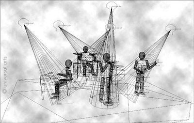 MARIO STRACK - The Band Wireframe A4 Original Grafik handsigniert Gittermodell