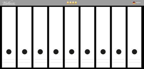 Weiß einfarbig monochrom Wallario Ordnerrücken selbstklebend 9 breite Ordner