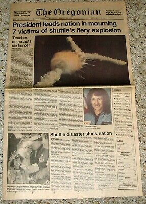 SPACE SHUTTLE CHALLENGER 1986 DISASTER OREGONIAN NEWSPAPER CHRISTA McAULIFFE | eBay