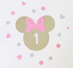9b658e2c6 Minnie Mouse Head Cake Topper Pink Gold Glitter Card Any Number ...