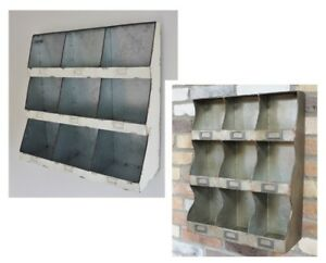Industrial-Pigeon-Hole-Wall-Unit-Metal-Storage-Shelf-9-Cubicles-Rustic-Cabinet