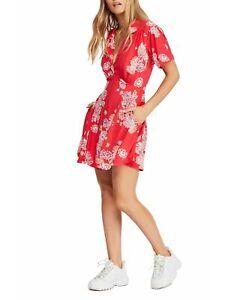 FREE-PEOPLE-33-Womens-New-Red-Floral-V-Neck-Short-Sleeve-Sheath-Dress-XS-B-B