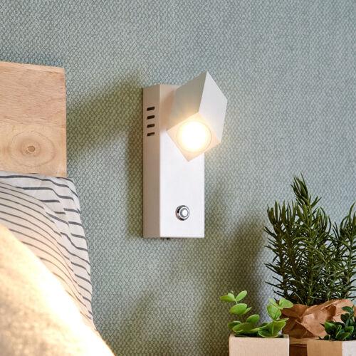 LED-Wandleuchte Sandrine Eckig Leselampe Verstellbar Lampenwelt Weiß Dimmer LED