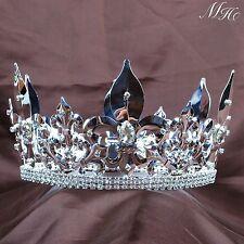 Men Renaissance Crown Full Round Medieval Tiara Rhinestone Pageant Party Costume