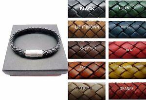 sterling silver 925 tube decor w/8mm braided Italian leather bracelet men/women