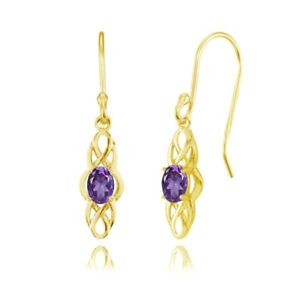 Celtic-Knot-Oval-African-Amethyst-Dangle-Drop-Earrings-in-Gold-Plated-925-Silver