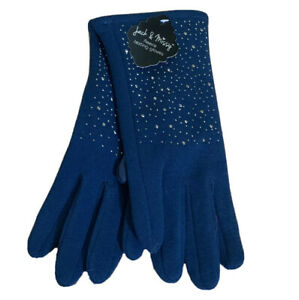 Jack-amp-Missy-Fleece-Texting-Gloves-One-Size-Blue-Bling-Detail-Fashion-New-AF87