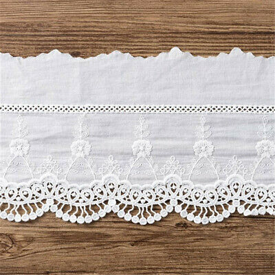 Lace Trim 20 Yards Ivory Embroidered Tapes Ribbon Clothes Dress Doll Sewing Fabric 1cm 0.39 Wide M25C101